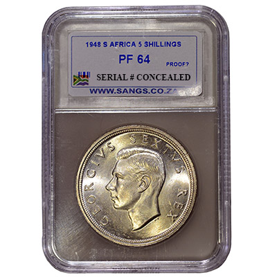 1948 South Africa 5s SANGS PF64