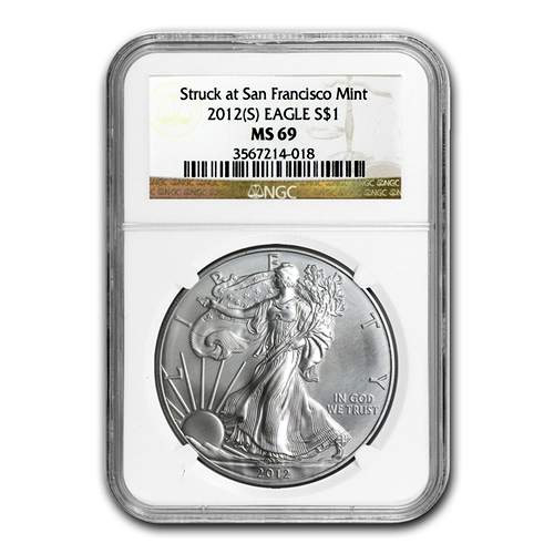 2012 Silver $1 American Eagle NGC-MS69