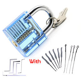 Transparent Padlock with keys and tools