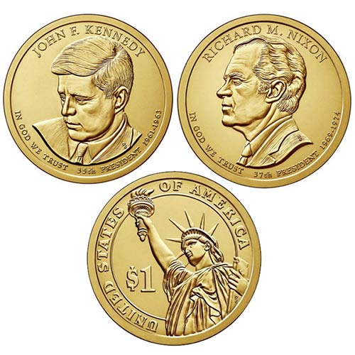 JFK and Nixon Pres $1 Dollar UNC